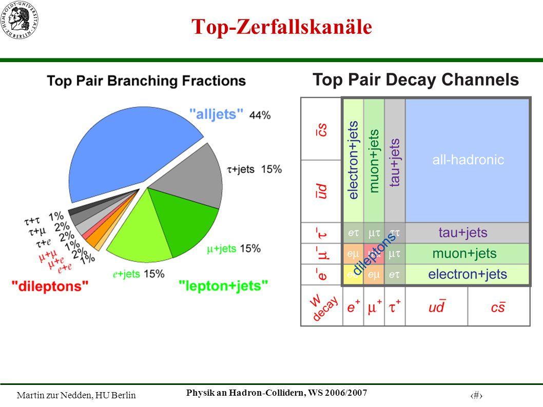 Martin zur Nedden, HU Berlin 15 Physik an Hadron-Collidern, WS 2006/2007 Top-Zerfallskanäle