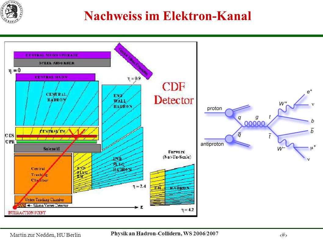 Martin zur Nedden, HU Berlin 17 Physik an Hadron-Collidern, WS 2006/2007 Nachweiss im Elektron-Kanal