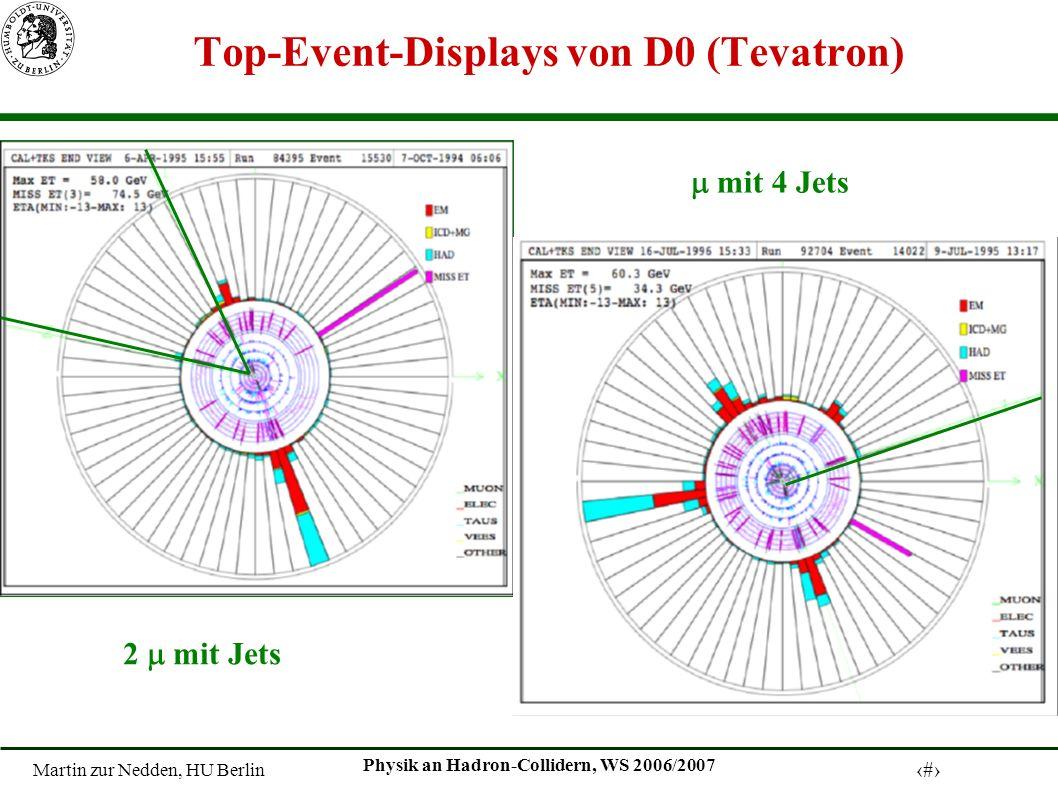 Martin zur Nedden, HU Berlin 19 Physik an Hadron-Collidern, WS 2006/2007 Top-Event-Displays von D0 (Tevatron) 2 mit Jets mit 4 Jets