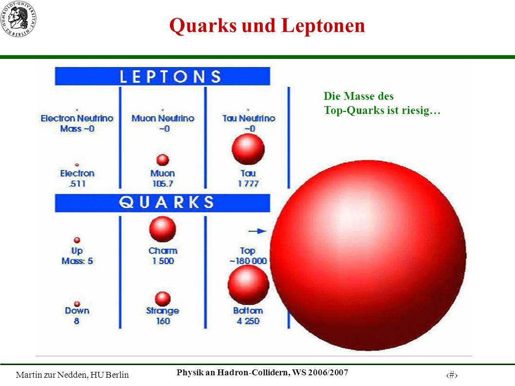 Martin zur Nedden, HU Berlin 2 Physik an Hadron-Collidern, WS 2006/2007 Quarks und Leptonen Die Masse des Top-Quarks ist riesig…