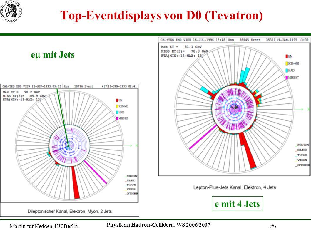 Martin zur Nedden, HU Berlin 20 Physik an Hadron-Collidern, WS 2006/2007 Top-Eventdisplays von D0 (Tevatron) e mit 4 Jets e mit Jets