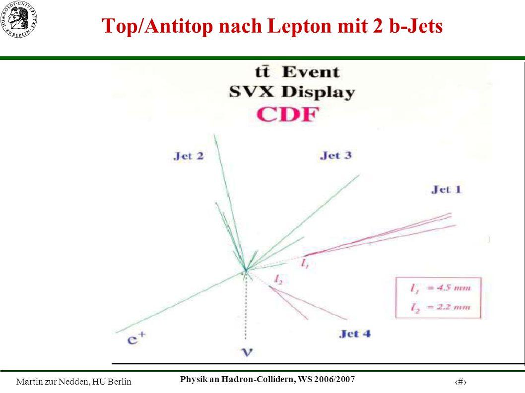 Martin zur Nedden, HU Berlin 21 Physik an Hadron-Collidern, WS 2006/2007 Top/Antitop nach Lepton mit 2 b-Jets