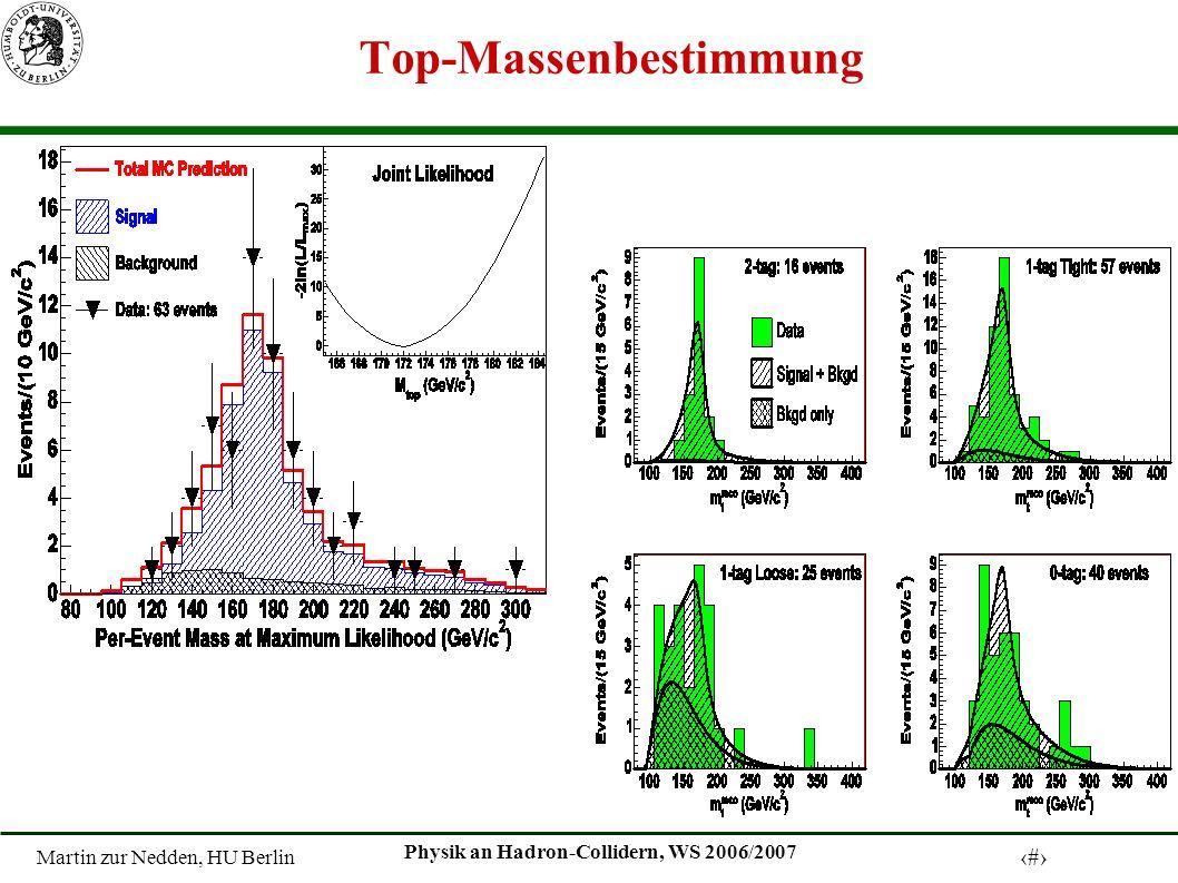 Martin zur Nedden, HU Berlin 24 Physik an Hadron-Collidern, WS 2006/2007 Top-Massenbestimmung