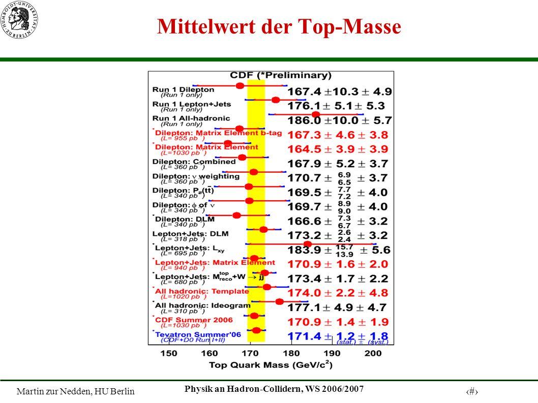 Martin zur Nedden, HU Berlin 25 Physik an Hadron-Collidern, WS 2006/2007 Mittelwert der Top-Masse