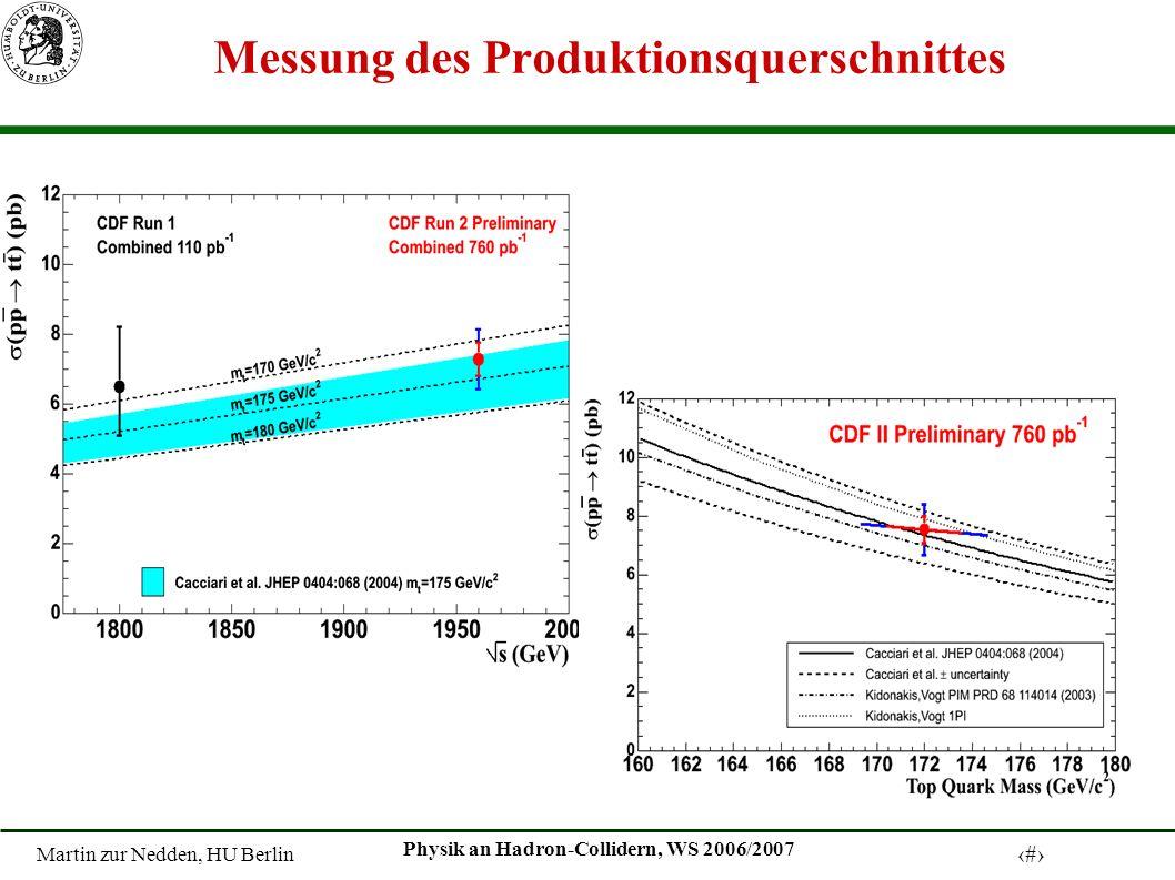 Martin zur Nedden, HU Berlin 26 Physik an Hadron-Collidern, WS 2006/2007 Messung des Produktionsquerschnittes