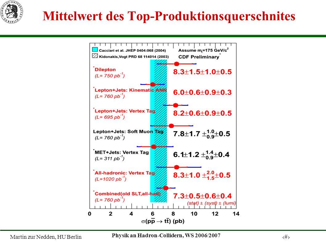 Martin zur Nedden, HU Berlin 27 Physik an Hadron-Collidern, WS 2006/2007 Mittelwert des Top-Produktionsquerschnites
