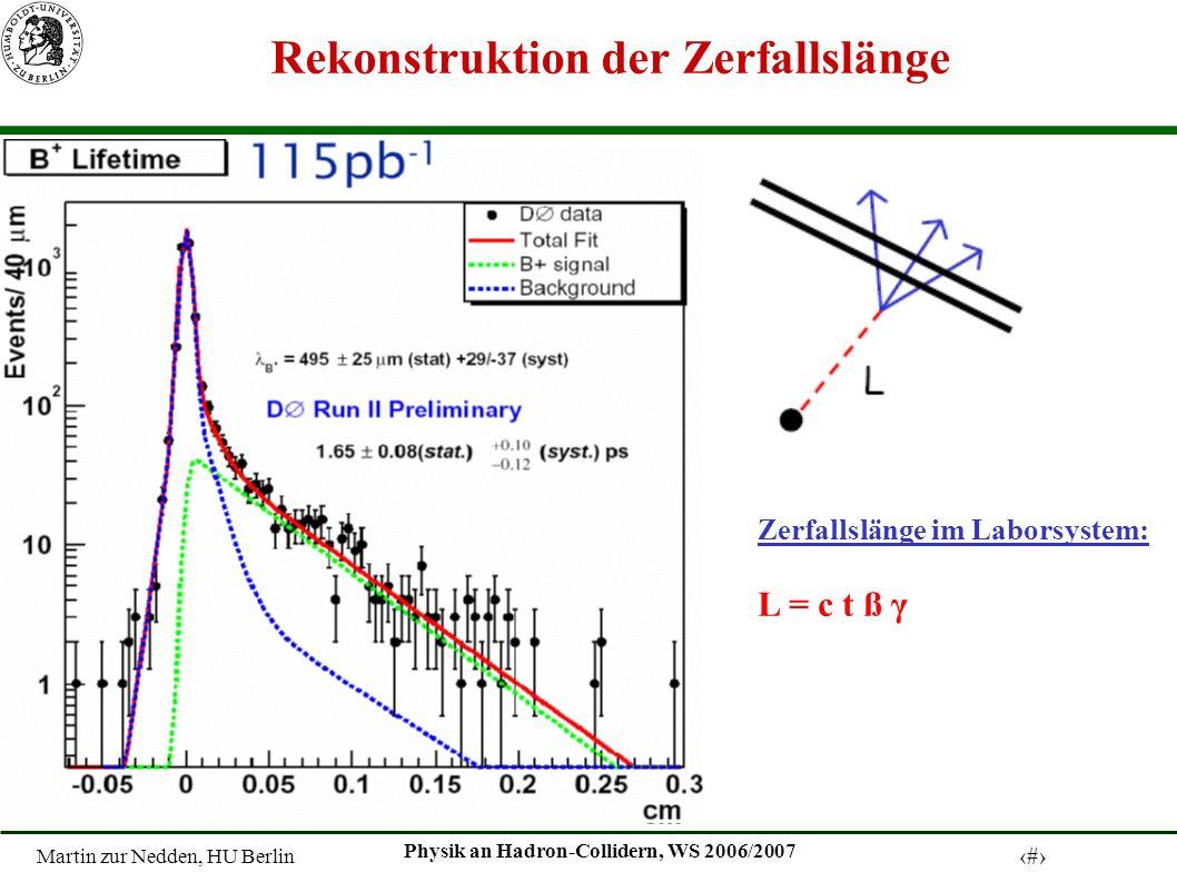 Martin zur Nedden, HU Berlin 5 Physik an Hadron-Collidern, WS 2006/2007 Rekonstruktion der Zerfallslänge Zerfallslänge im Laborsystem: L = c t ß γ