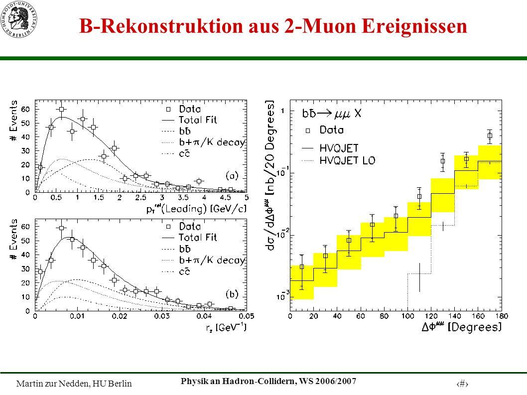 Martin zur Nedden, HU Berlin 7 Physik an Hadron-Collidern, WS 2006/2007 B-Rekonstruktion aus 2-Muon Ereignissen