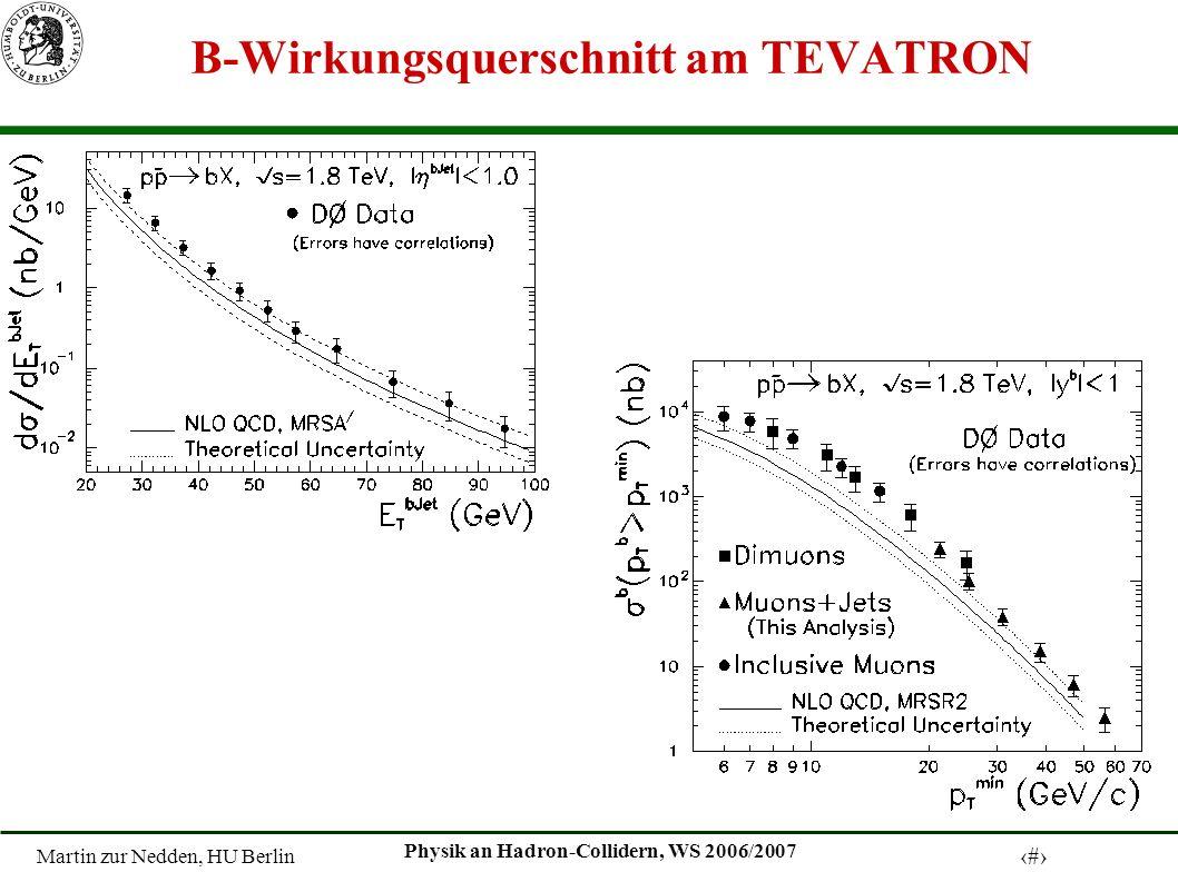 Martin zur Nedden, HU Berlin 8 Physik an Hadron-Collidern, WS 2006/2007 B-Wirkungsquerschnitt am TEVATRON