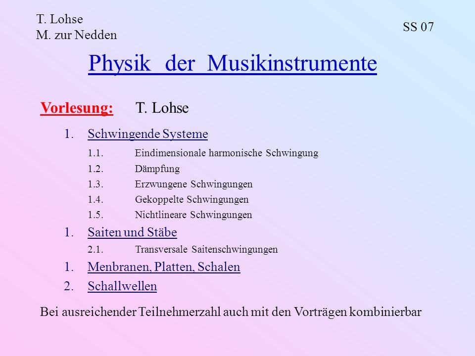 Physik der Musikinstrumente T. Lohse M. zur Nedden SS 07 Vorlesung:T. Lohse 1.Schwingende Systeme 1.1.Eindimensionale harmonische Schwingung 1.2.Dämpf