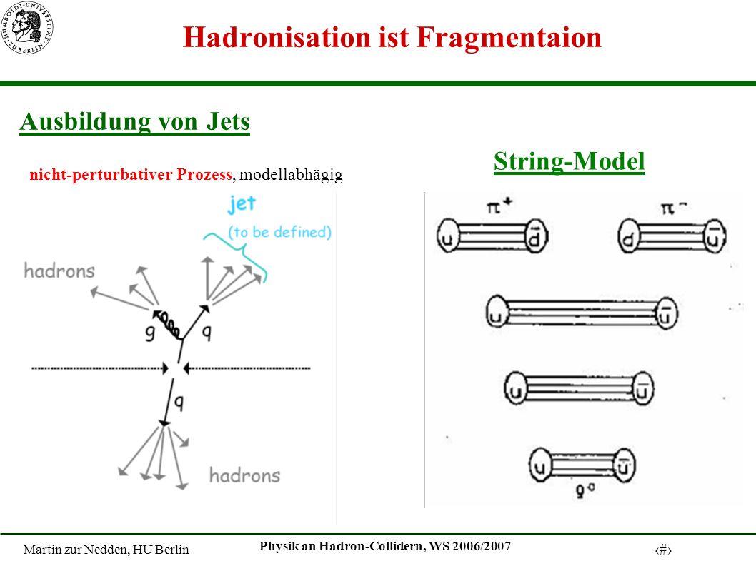 Martin zur Nedden, HU Berlin 12 Physik an Hadron-Collidern, WS 2006/2007 Hadronisation ist Fragmentaion String-Model Ausbildung von Jets nicht-perturb