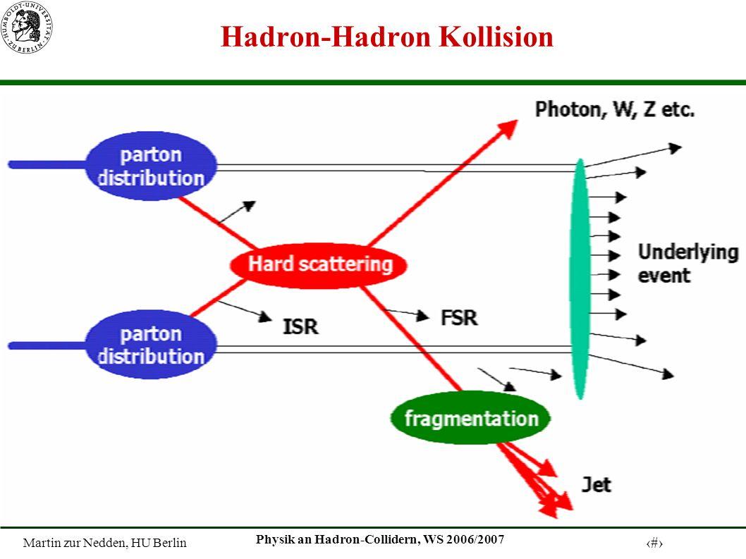 Martin zur Nedden, HU Berlin 3 Physik an Hadron-Collidern, WS 2006/2007 Lepton-Nukleon Streuung bei HERA Elektron Proton Elektron Proton Quark-Jet Elektron Quark-Jet H1-Detektor Schwerpunktsenergie von 320 GeV entspricht einer Ortsauflösung von 10 -18 m