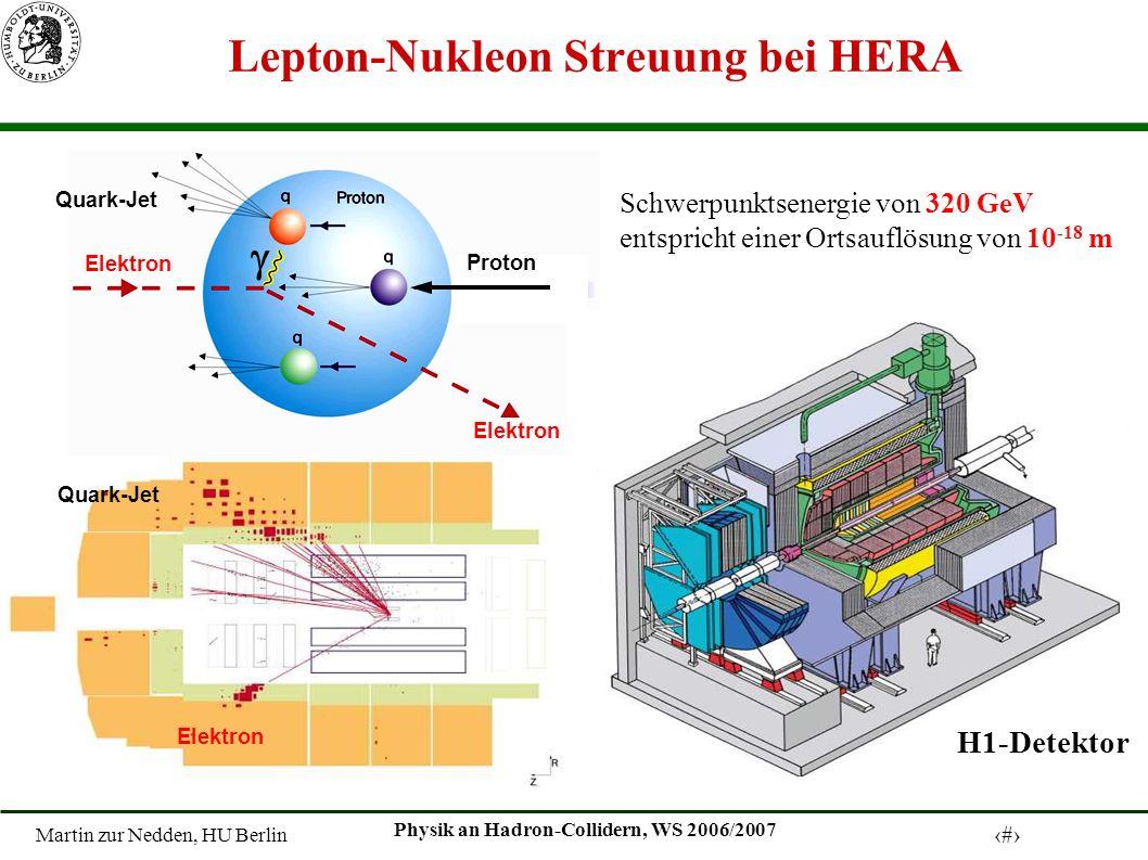 Martin zur Nedden, HU Berlin 4 Physik an Hadron-Collidern, WS 2006/2007 Auflösung der Substruktur des Protons Die Proton-Substruktur, falls das Proton: - ein punktförmiges Teilchen ist - aus nur drei Valenz- quarks besteht - die Valenzquark gebunden und in Bewegung sind - ein System von Quarks und Gluonen ist.