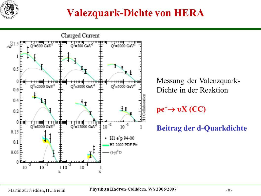 Martin zur Nedden, HU Berlin 7 Physik an Hadron-Collidern, WS 2006/2007 Valezquark-Dichte von HERA Messung der Valenzquark- Dichte in der Reaktion pe