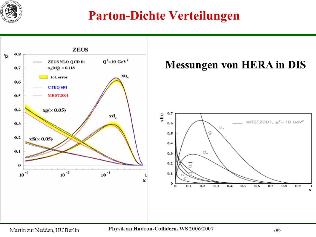 Martin zur Nedden, HU Berlin 9 Physik an Hadron-Collidern, WS 2006/2007 Berechnung des Wirkungsquerschnittes Parton Dichte Verteilungen : Wirkungsquerschnitt auf Quark-Niveau Beispiel: W-Produktion bei Spps