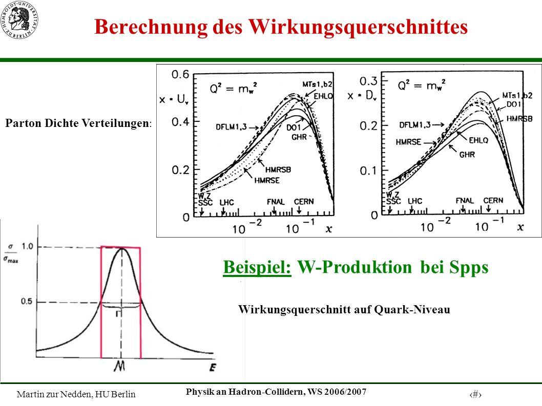 Martin zur Nedden, HU Berlin 9 Physik an Hadron-Collidern, WS 2006/2007 Berechnung des Wirkungsquerschnittes Parton Dichte Verteilungen : Wirkungsquer
