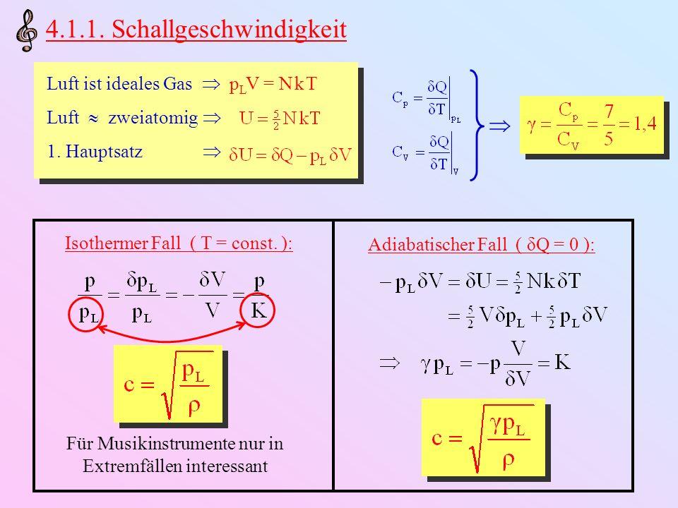 Wellengleichung: c 2 proportional zur (absoluten) Temperatur c unabhängig vom Luftdruck m L und somit c abhängig von Luftfeuchtigkeit Taylorentwicklung um 0°C bei 50% relativer Luftfeuchtigkeit: