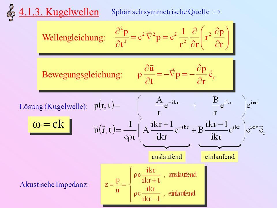 4.1.3. Kugelwellen Wellengleichung: Sphärisch symmetrische Quelle Bewegungsgleichung: Lösung (Kugelwelle): auslaufendeinlaufend Akustische Impedanz: