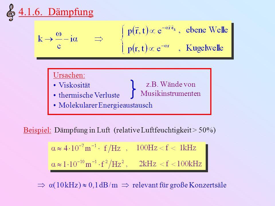 4.1.6. Dämpfung Ursachen: Viskosität thermische Verluste Molekularer Energieaustausch z.B. Wände von Musikinstrumenten Beispiel: Dämpfung in Luft (rel