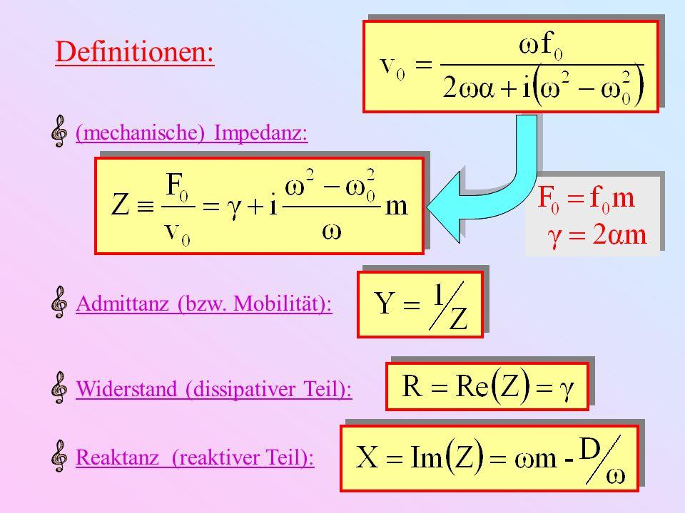 Definitionen: Resonanzamplitude:Gleichgewichtsamplitude: Resonanzverstärkung: = Güte