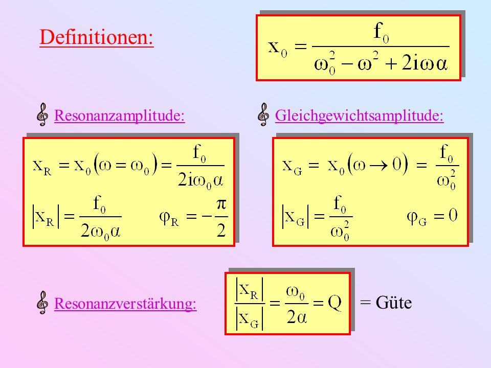 Definitionen: Dämpfung in Dezibel (dB) Dämpfung Bemerkung: Analog für andere Größen (v, a,...) und andere Bezugspunkte
