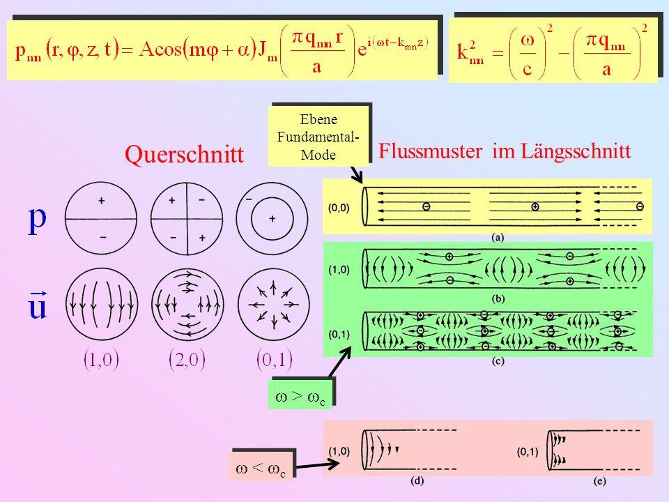 Querschnitt Flussmuster im Längsschnitt Ebene Fundamental- Mode ω > ω c ω < ω c