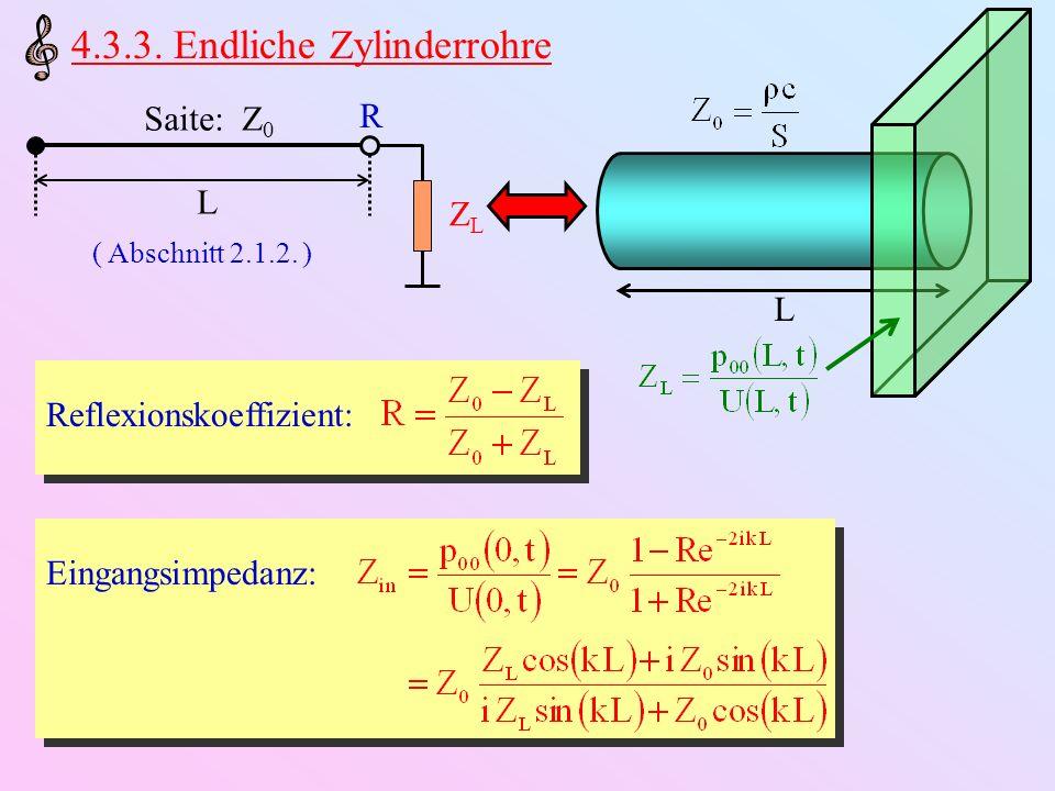 L Ideal abgeschlossener Rohr: Z L = Ideal offenes Rohr: Z L = 0 Ideal offener Eingang: p 00 U U