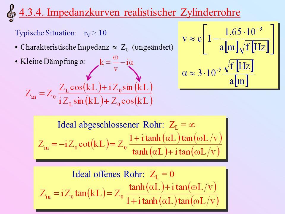 4.3.4. Impedanzkurven realistischer Zylinderrohre Typische Situation: r V > 10 Charakteristische Impedanz Z 0 (ungeändert) Kleine Dämpfung α: Ideal ab
