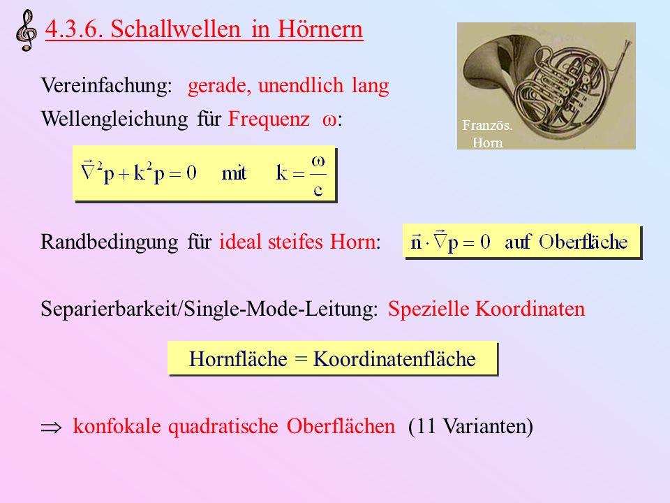 Beispiele: Kreis/Ellipsen/Rechteck-Zylinderrohre Single-Mode ebene Wellen Konische Hörner Single-Mode Kugelwellen Hyperbolische Hörner Single-Mode Welle oblat spheroidal zylindrisch konisch eben sphärisch Single-Mode Welle oblat spheroidal zylindrisch konisch eben sphärisch Glatter Zylinder- Übergang
