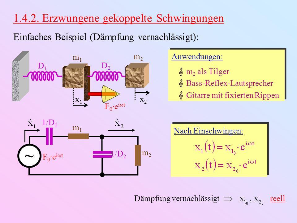 1.4.2. Erzwungene gekoppelte Schwingungen Einfaches Beispiel (Dämpfung vernachlässigt): D1D1 m1m1 x1x1 D2D2 m2m2 x2x2 F 0 ·e iωt m1m1 1/D 2 1/D 1 m2m2