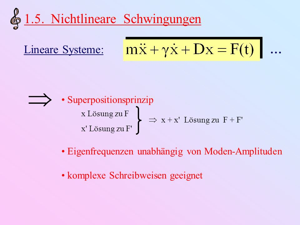 Realistische Systeme: Nichtlineare Beiträge a)Grenzen des Hookeschen Gesetzes b)Turbulenz c)Bogenkraft auf Saite = f (Saitenposition,Relativgeschwindigkeit) d)Strömung in Rohrventilen (Blasinstrumente) = f (Druckabfall) Konsequenzen: a)ω 0 = ω 0 ( x 0 ) b)Hysterese-Verhalten in ( x 0, ω 0 ) –Diagramm c)Bifurkationen und chaotisches Verhalten (seltsame Attraktoren) (d.h., System schwingt sich nicht immer auf periodische Bewegung ein!)