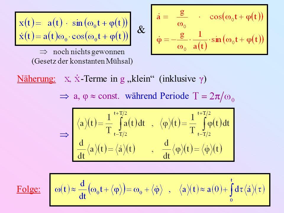 Beispiel:Schwach gedämpfter, freier, linearer Oszillator D γ=2mα m x Also: Korrekt für .