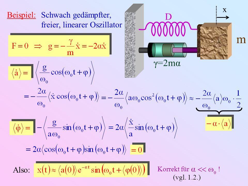 Beispiel:Schwach gedämpfter, freier, linearer Oszillator D γ=2mα m x Also: Korrekt für ! (vgl. 1.2.)