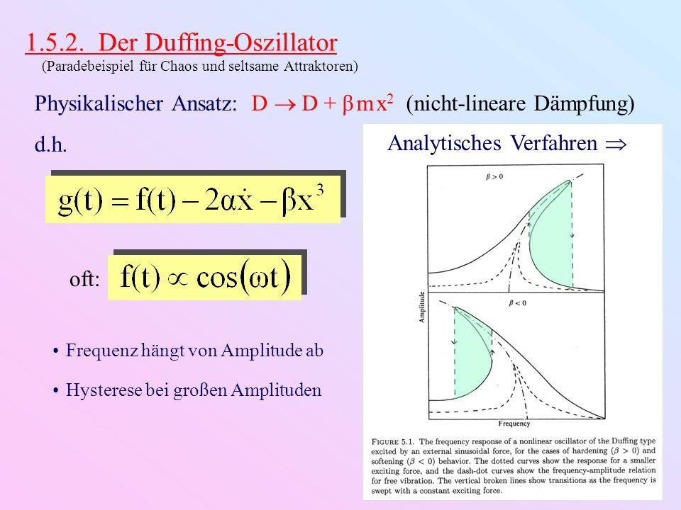 1.5.2. Der Duffing-Oszillator (Paradebeispiel für Chaos und seltsame Attraktoren) Physikalischer Ansatz: D D + β m x 2 (nicht-lineare Dämpfung) d.h. o