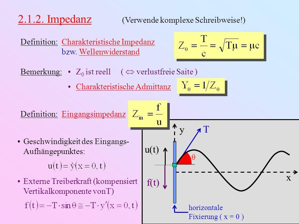 x y T θ horizontale Fixierung ( x = 0 ) u(t) f(t) Beispiel: Nach rechts unenedliche Saite nur rechtslaufende Welle