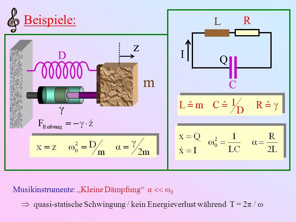 Energieverlust bei kleiner Dämpfung: const. ½ Dämpfungszeit: #Schwingungen in τ D : Güte: