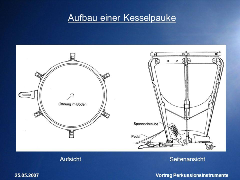 25.05.2007Vortrag Perkussionsinstrumente Aufbau einer Kesselpauke SeitenansichtAufsicht