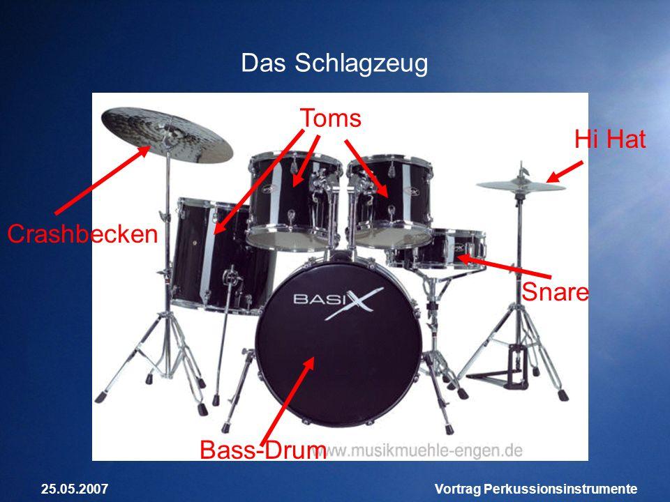 25.05.2007Vortrag Perkussionsinstrumente Das Schlagzeug Bass-Drum Snare Toms Hi Hat Crashbecken