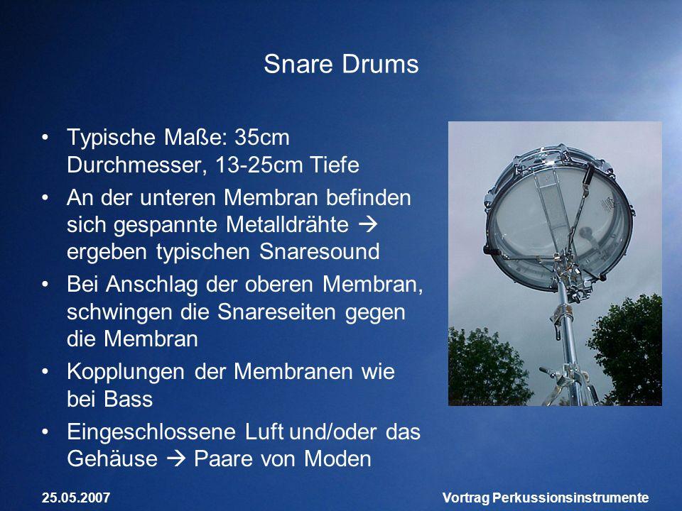 25.05.2007Vortrag Perkussionsinstrumente Snare Drums Typische Maße: 35cm Durchmesser, 13-25cm Tiefe An der unteren Membran befinden sich gespannte Met