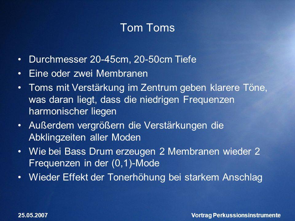 25.05.2007Vortrag Perkussionsinstrumente Tom Toms Durchmesser 20-45cm, 20-50cm Tiefe Eine oder zwei Membranen Toms mit Verstärkung im Zentrum geben kl