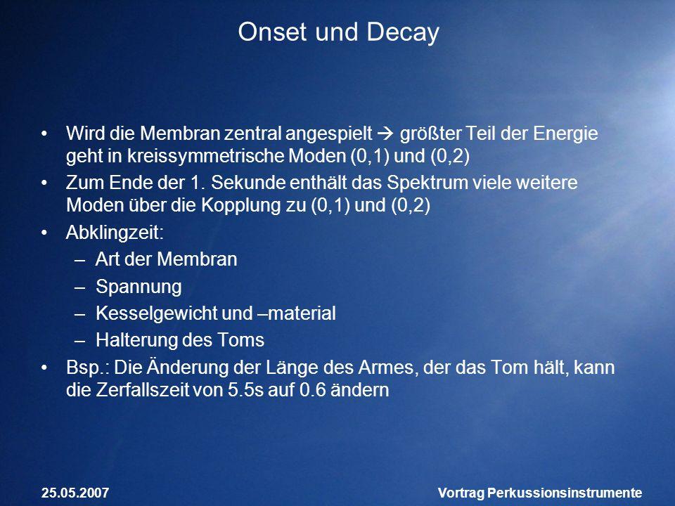 25.05.2007Vortrag Perkussionsinstrumente Onset und Decay Wird die Membran zentral angespielt größter Teil der Energie geht in kreissymmetrische Moden