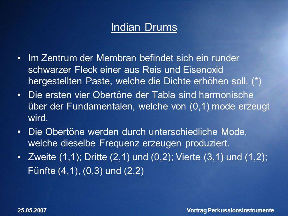25.05.2007Vortrag Perkussionsinstrumente Indian Drums Im Zentrum der Membran befindet sich ein runder schwarzer Fleck einer aus Reis und Eisenoxid her
