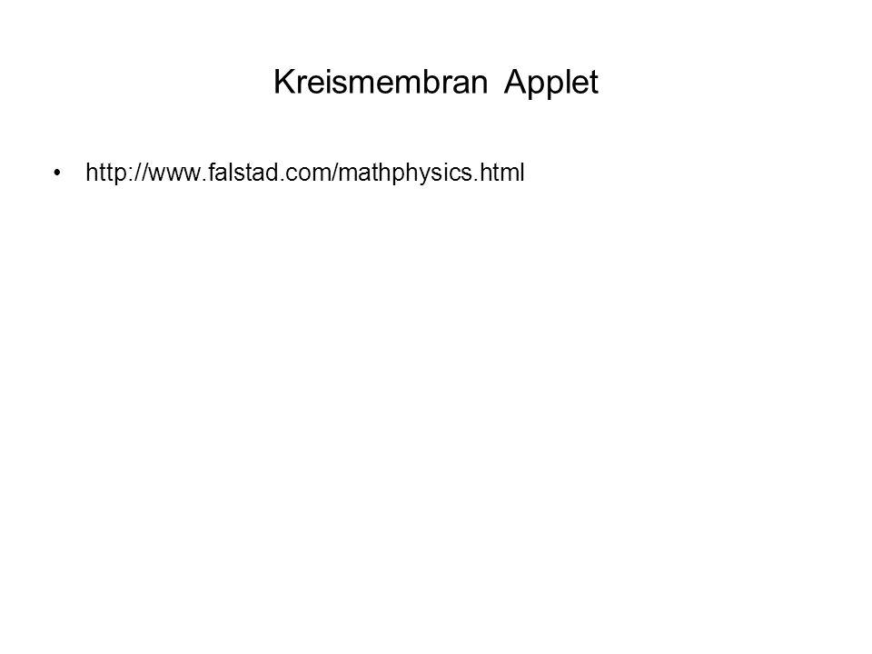25.05.2007Vortrag Perkussionsinstrumente Kreismembran Applet http://www.falstad.com/mathphysics.html