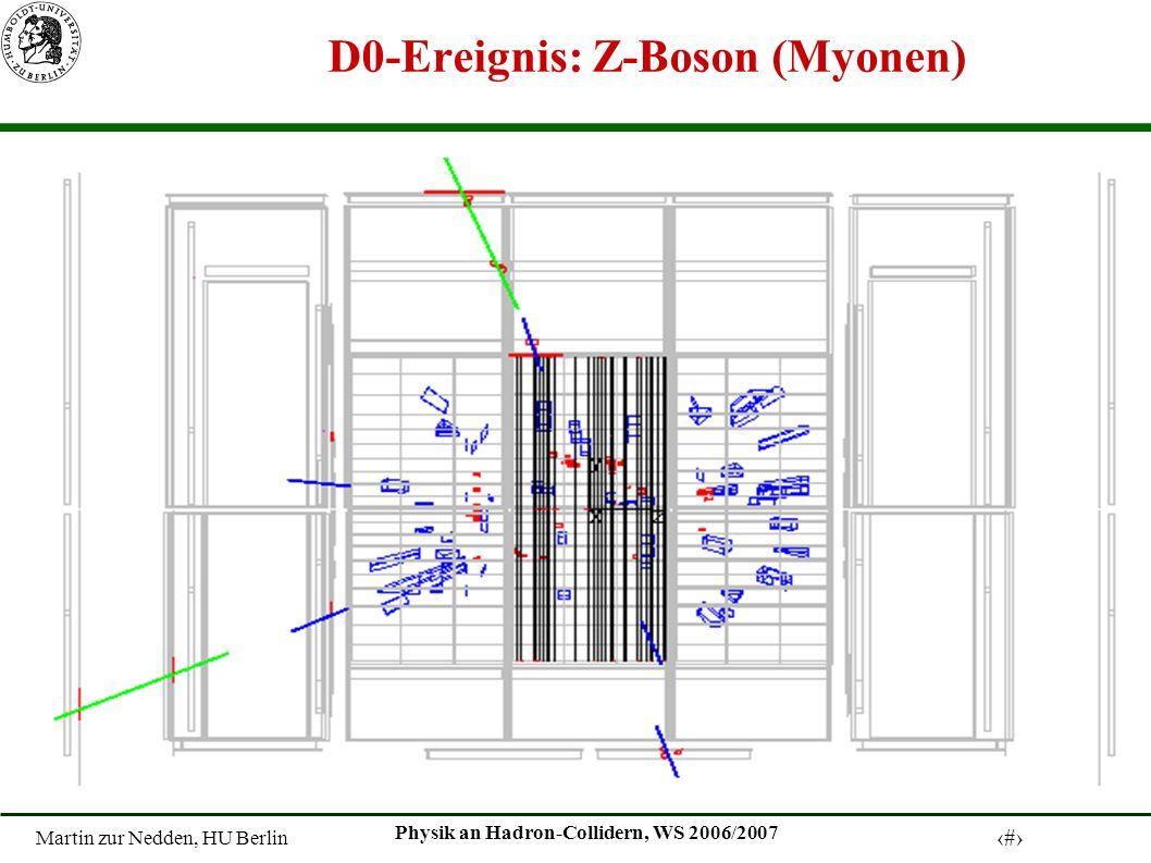Martin zur Nedden, HU Berlin 10 Physik an Hadron-Collidern, WS 2006/2007 D0-Ereignis: Z-Boson (Myonen)