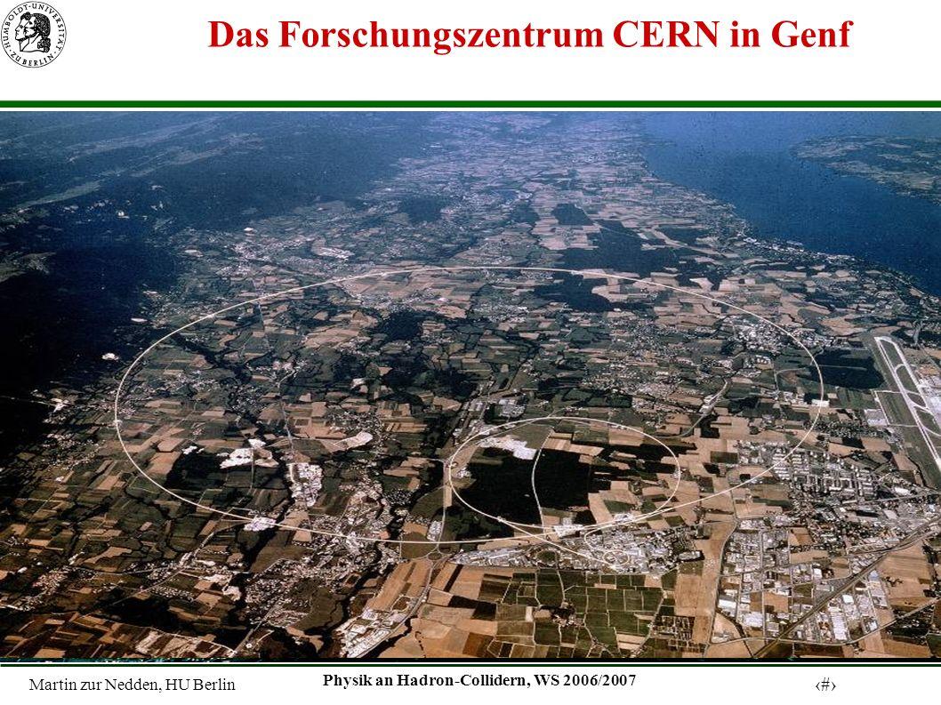 Martin zur Nedden, HU Berlin 11 Physik an Hadron-Collidern, WS 2006/2007 Das Forschungszentrum CERN in Genf