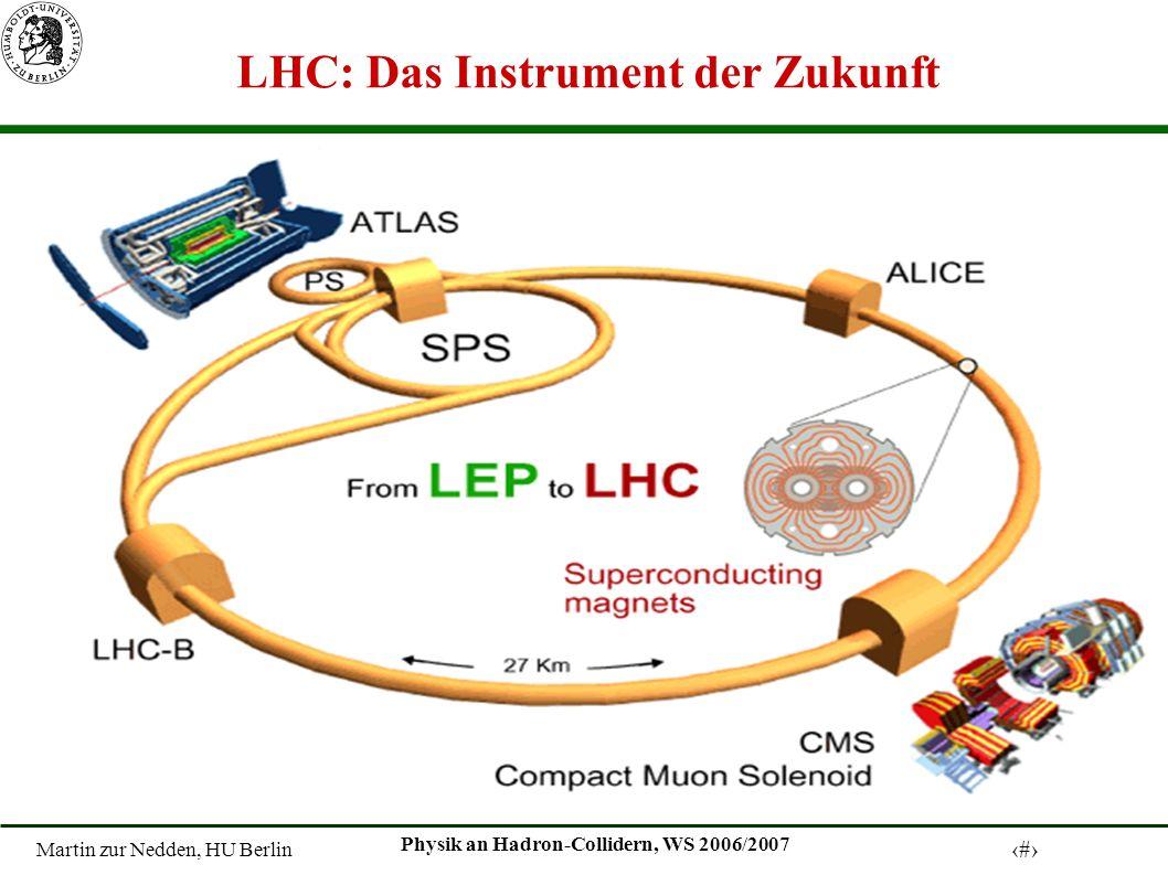 Martin zur Nedden, HU Berlin 12 Physik an Hadron-Collidern, WS 2006/2007 LHC: Das Instrument der Zukunft