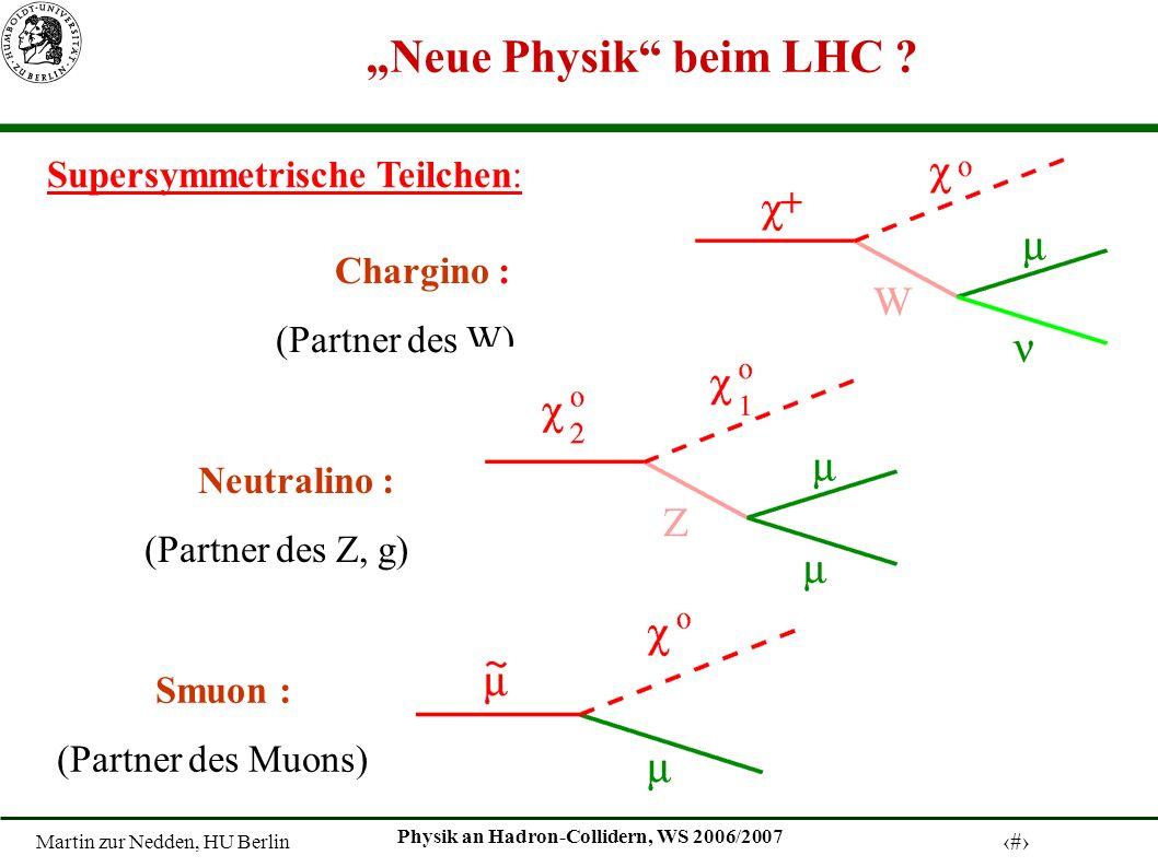 Martin zur Nedden, HU Berlin 14 Physik an Hadron-Collidern, WS 2006/2007 Neue Physik beim LHC .