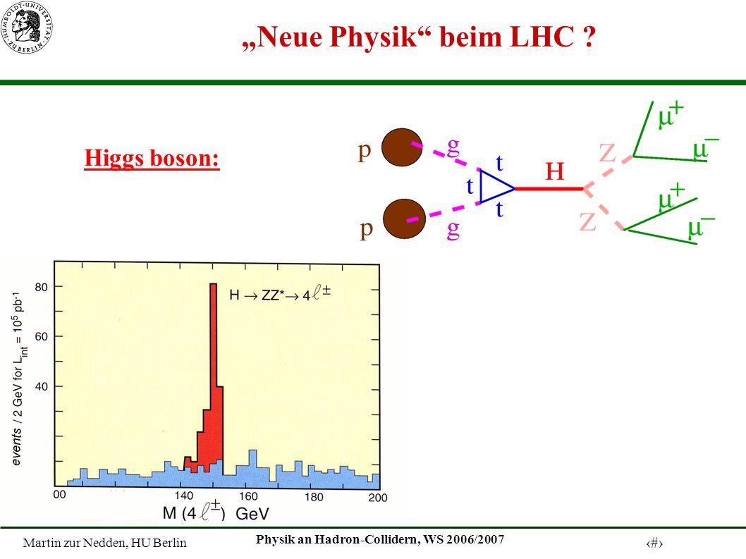 Martin zur Nedden, HU Berlin 15 Physik an Hadron-Collidern, WS 2006/2007 Neue Physik beim LHC .