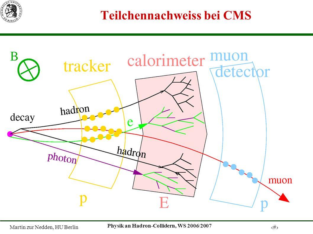 Martin zur Nedden, HU Berlin 28 Physik an Hadron-Collidern, WS 2006/2007 Teilchennachweiss bei CMS