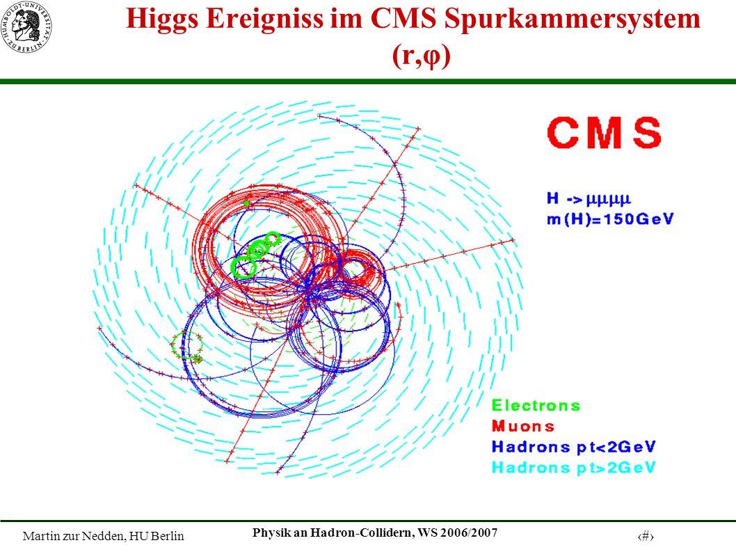 Martin zur Nedden, HU Berlin 29 Physik an Hadron-Collidern, WS 2006/2007 Higgs Ereigniss im CMS Spurkammersystem (r,φ)